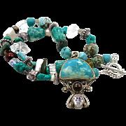 Amazonite Necklace, Sterling Silver, Beaded Turquoise, Gemstone Pendant, Boho Jewelry, Bohemian, Big Statement, Aqua Blue Green, OOAK