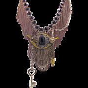 Steampunk Chain Necklace - Statement Bib - Vintage repurposed assemblage - InVintageHeaven