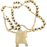 Elephant Necklace, Carved Bone, Beaded Necklace, Vintage Necklace, Long, Big Statement, Chunky, Ethnic Boho, African, Festival Jewelry