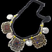 Gypsy Necklace, Afghan Jewelry, Vintage Necklace, Red Jewels, Blue Yellow,Kuchi Jewelry, Banjar Turkomen, Boho Statement, Bohemian, Ethnic