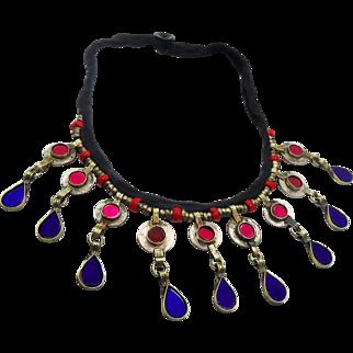 Kuchi Necklace, Red, Blue, Gypsy Jewelry, Coin, Vintage Necklace, Afghan Jewelry, Turkomen, Boho Statement, Banjara, Bohemian, Ethnic Tribal