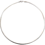 "Omega Chain, Sterling Silver, Italy, 16"", 3.5 mm, Chain, Choker, Collar, Necklace, 925, Minimalist, Retro"