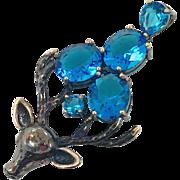 Deer Pendant, Sterling Silver, Japanned Silver, Blue Topaz, Vintage Pendant, Gold Accents, Patina, Large, Big, Unique, Unusual, Antlers