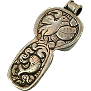 Tibet Pendant, Nepal, Bird Repousse, Bird Pendant, Fish, Reversible, Brown, Vintage Jewelry, Big Large Chunky, Patina, Festival Jewelry