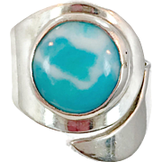 Blue Larimar, Unique Ring, Sterling Silver, Vintage Ring, Statement, Big Dolphin Stone, Size 7, Adjustable, Blue Stone, Boho Bohemian