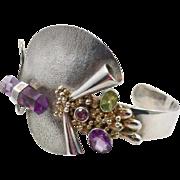 SOLD - Amethyst Crystal, Cuff Bracelet, Sterling Silver, Tourmaline, Peridot, Unique, Designer Michou, 22K Gold Vermeil, Studio Design, Modern
