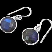 Labradorite Earrings, Sterling Silver, Pierced Earrings, Checkerboard Faceted, Blue Grey, Ear Wires, Bezeled Stones, Gemstones, Minimalist