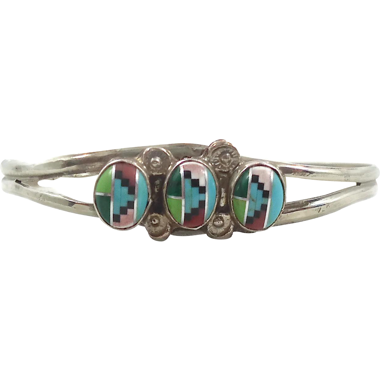 Turquoise Inlay Sterling Silver Bracelet - Vintage Zuni Inlaid - InVintageHeaven
