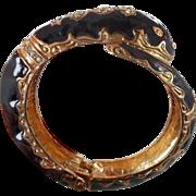 Snake Bracelet, Vintage Bracelet, Black Enamel, Rhinestone, Bangle Bracelet, Hinged, Statement, Egyptian, Gothic, Fantasy