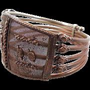 Boho Bracelet, Copper Tone, Small Wrist, Vintage Bangle, Wide Large, Boho Statement, Unique Unusual, Mesh, Tribal Festival, Bohemian