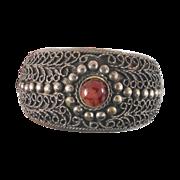 Old Vintage Ornate Bangle Ethnic Bracelet - Big Wide Piece - Swirled Metal & Agate Stone - InVintageHeaven