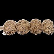 Baroque Gold Bracelet - Vintage Wide Panels - Etruscan Open Work - InVintageHeaven