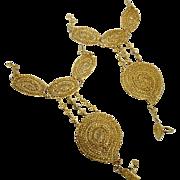 2 Gold Slave Bracelets, India Wedding, Lot Pair, Vintage Bracelet, Gold Filagree, Bollywood, Boho Statement, Bohemian, Exotic India
