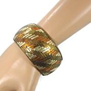 Woven India Brass & Tin Bracelet - Vintage 1970s Bangle Bracelet - Boho Gypsy - InVintageHeaven