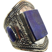 Lapis Bracelet, Silver Wide Cuff, Vintage Bracelet, Turkmen, Kuchi Jewelry, Gypsy, Big Statement, Bohemian, Large, Boho, Unisex Mens Mans