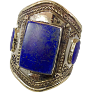 Lapis Bracelet, Silver Wide Cuff, Vintage Bracelet, Turkmen, Kuchi Jewelry, Gypsy, Unisex Mens, Big Statement, Bohemian, Ethnic Tribal Large