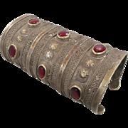 Kuchi Cuff Bracelet, Huge Large Big, Vintage Silver Boho, Red Jewels, Wide, Patina, Statement, Turkmen, Gypsy Ethnic, Afghan, Bohemian #1