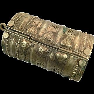 Afghan Bracelet, Wide Kuchi Bracelet, Vintage Bracelet, Silver Ethnic, Turkoman Gypsy, Tribal Gypsy, Mixed Metal, Belly Dance, Statement #1