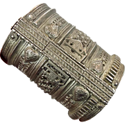 Afghan Bracelet, Wide Kuchi Bracelet, Vintage Bracelet, Silver Ethnic, Turkoman Gypsy, Tribal Gypsy, Mixed Metal, Belly Dance, Statement