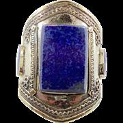 Lapis Bracelet, Silver Wide Cuff, Vintage Bracelet, Turkmen, Kuchi Jewelry, Gypsy, Big Statement, Bohemian, Ethnic Tribal, Large, Boho, #1