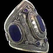 Lapis Bracelet, Silver Wide Cuff, Vintage Bracelet, Turkmen, Kuchi Jewelry, Gypsy, Big Statement, Bohemian, Ethnic Tribal, Large, Boho