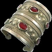 Kuchi Cuff Bracelet, Vintage Bracelet, Red Jewels, Silver Boho, Wide Bracelet, Big Statement, Turkmen, Gypsy Ethnic, Afghan, Bohemian