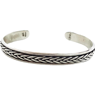 Cuff Bracelet, Sterling Silver, Mexico, Vintage Bracelet, Stack Stacking, Braided Trim, Unisex, Bracelet, Vintage Jewelry, 925