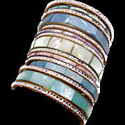 Boho Bracelet Stack, Pastel Shell Bracelets, India Brass, Pink Blue Aqua, 15 Set Lot, Vintage Bracelet, Boho Statement, Big Wide Large, Sea