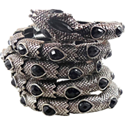 Silver Snake, Vintage Bracelet, Black Rhinestone, Marcasite, Big Statement, Egyptian, Gothic, Fantasy, Vintage Jewelry, Silver Metal