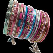 Boho Bracelet Stack, Shell Bracelets, India Brass, Pink Blue, 29 Set Lot, Vintage Bracelet, Turquoise, Bird, Boho Statement, Big Wide Large