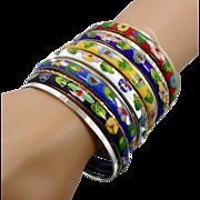 Boho Bracelets, Cloisonne, Red Black Blue, Stack Stacking, 13 Lot Set, Vintage Bangle, Gold Silver, Bohemian, Ethnic Tribal, Statement