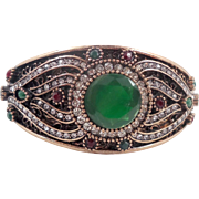 Turkish Bracelet, Brass Bangle, Vintage Bracelet, Ottoman,Glass Ruby Emerald, Boho Statement, Ethnic Tribal, Red Green, Cubic Zirconia, CZs
