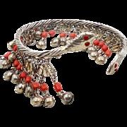 Snake Bracelet, Upper Arm, Vintage Bangle Cuff, Bells, Egyptian, Boho Statement, Festival Jewelry, Bohemian, Ethnic, Dangle, Gold, Costume
