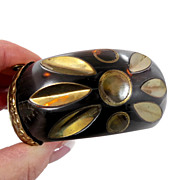 India Wood & Brass Big Bracelet - Repousse Metal - Hippie Gypsy - Invintageheaven