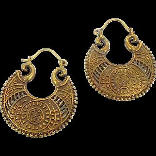 Boho Earrings, India Brass, Big Statement, Vintage Pierced, Large Dangle, Ethnic Tribal, Big Hoops, Festival Jewelry, Bohemian Earrings