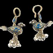 """Blue Bird Earrings, Afghan Earrings, Vintage Jewelry, Dangle Earrings, Boho Bohemian, Gypsy Turkoman, Mixed Metals, 3"""" Long, Big Statement"""