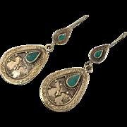 Afghan Earrings, Green Stone Earrings, Kuchi Gypsy, Boho Jewelry, Big Bohemian, Statement, Silver, Dangle Long, Festival Jewelry