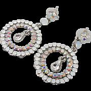 Rhinestone Earrings, Long Dangle, Vintage Earrings, Pierced, NOS, Boho, Bohemian, Evening, Vintage Jewelry, Unique Unusual, Big Statement