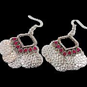 Boho Earrings, Pink Rhinestones, Vintage Jewelry, Long Dangles, Hot Fuchsia, Silver, Gypsy, Bohemian, Big Statement, Ethnic Tribal, Festival