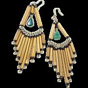 Boho Earrings, Big Statement, Bamboo Beads, Blue Stones, Vintage Earrings, Ethnic, Long Dangles, Huge Large, Peruvian, Beaded Earrings