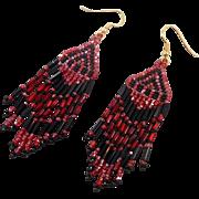 Red Black Earrings, Seed Beaded, Vintage Earrings, Boho Gypsy, Woven, Long, Bohemian, Hippie Festival, Pierced, Large Big, Fringed Earrings