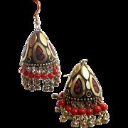 Boho Earrings, Gypsy India, Red Jasper, Vintage, Pierced Dangle, Festival, Bohemian, Tribal, Ethnic, Big Statement, Bollywood, Large