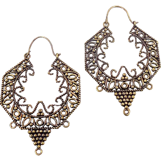 "Boho Big Earrings, India Brass, Big Statement, Vintage Pierced, Large Hoops, Ethnic Tribal, 2"" Long, Festival Jewelry, Wire Work, Filagree"