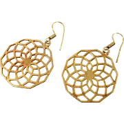 """Bohemian Earrings, India Brass, Big Statement, Vintage Pierced, Large Dangle, Ethnic Tribal, 2"""" Long, Festival Jewelry, Circles Ear Wires"""