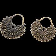 Bohemian Earrings, India Brass, Big Statement, Vintage Pierced, Large Dangle, Ethnic Tribal, Long, Festival Jewelry, Vintage Jewelry