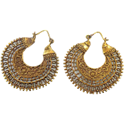 "Bohemian Earrings, Large Hoops, India Brass, Big Statement, Vintage Pierced, Ethnic Tribal, 1 3/4"" Long, Festival Jewelry, Filagree, Flower"