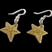 Star Earrings, Brass Earrings, Vintage Earrings, Stamped, Boho Bohemian, Pierced Dangle, Ethnic Hippie, Festival Jewelry, Mixed Metals