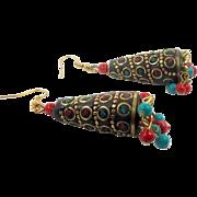 Ethnic Earrings, Boho Statement, Turquoise, Red, Brass Earrings, Vintage Earrings, Pierced Dangle, Bohemian, Ethnic, Tribal, Big Long