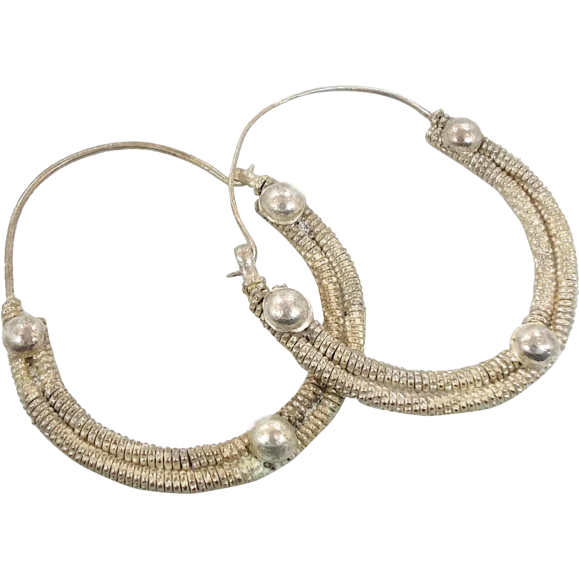 Big Hoop Earrings, Silver Earrings, Gypsy Jewelry, Afghan Jewelry, Boho Earrings, Bohemian, Statement, Ethnic Tribal, Festival, Hippie Chic