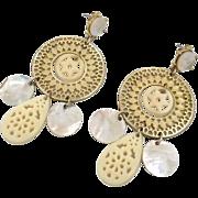 "Gold Big Earrings - Vintage ""N R"" Boho Gypsy - Filagree & Shell - 3"" Long - InVintageHeaven"